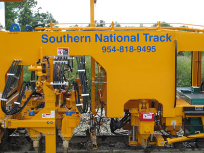 image of Southern National Track's Mark IV roadbed grading and railroad track preparation equipment
